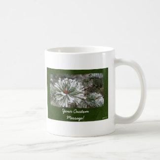 Snowy Evergreen Branches Close Basic White Mug