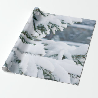Snowy evergreen tree wrapping paper