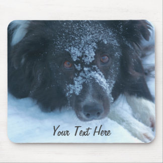 Snowy Faced Border Collie Cute Dog Mousepad