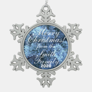 Snowy Family Greeting Christmas Ornament