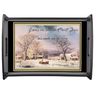 Snowy Farmhouse Jesus Bible Press On Serving Tray