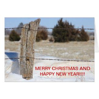 Snowy Fence Line Christmas CARD