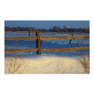 Snowy Fence Line Photo Enlargement