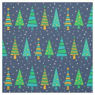 Snowy Fir Trees Fabric