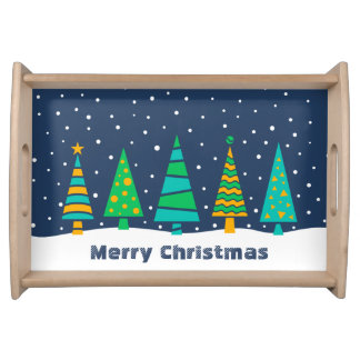 Snowy Fir Trees Serving Tray