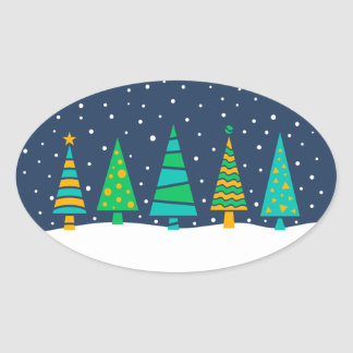 Snowy Fir Trees Stickers