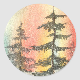 Snowy Fir Trees Watercolor Stickers