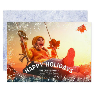 Snowy Foliage Festive Holiday Photo Card