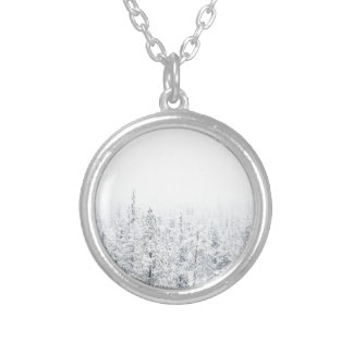 Snowy forest silver plated necklace