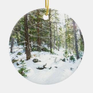 Snowy Forest Wilderness Playground Ceramic Ornament