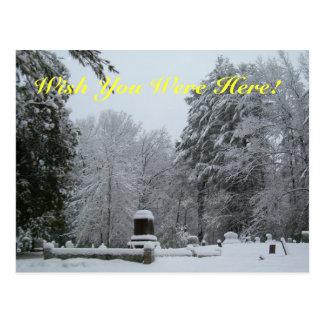 Snowy Graveyard Postcard