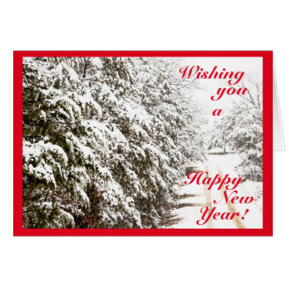 Snowy Happy New Year Greeting Card