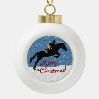Snowy Horse Jumper's Christmas Ceramic Ball Christmas Ornament