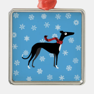 Snowy Hound Metal Ornament