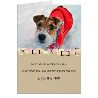 Snowy Jack Russell Terrier Birthday Greeting Card