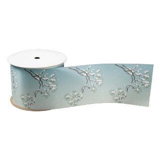 Snowy Japanese Pine 3 inch Satin Ribbon