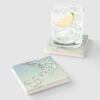 Snowy Japanese Pine Stone Coaster