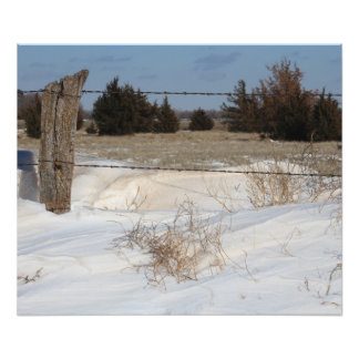 Snowy Kansas Fence Line Photo
