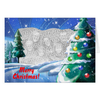 Snowy Lake Christmas Template Photo Greeting Card