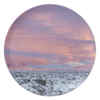 Snowy Lava field landscape, Iceland Dinner Plates