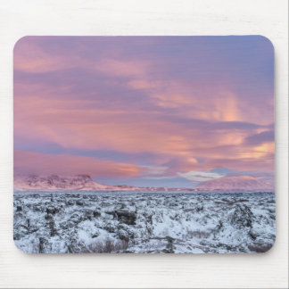 Snowy Lava field landscape, Iceland Mouse Pad