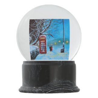 Snowy London red phone box Snow Globes