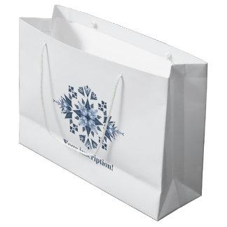 Snowy Mandala-Custom Gift Bag - Large, Glossy