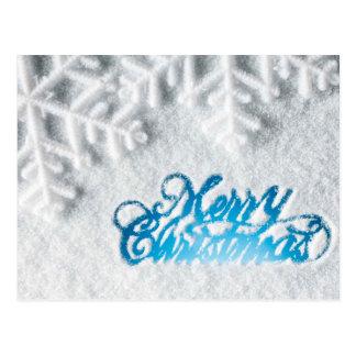 Snowy Merry Christmas Postcard