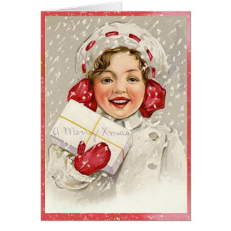 Snowy Merry Christmas Vintage Girl Card