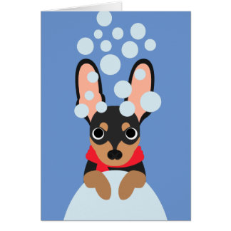 Snowy Miniature Pinscher Holiday Card