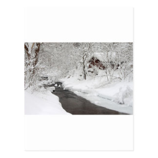 Snowy Mountain Cabin and Creek Postcard