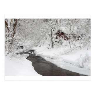 Snowy Mountain Cabin and Creek Postcard