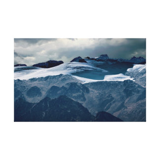 snowy mountain in winter canvas print