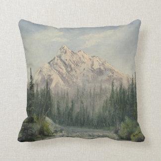 Snowy Mountain Landscape Throw Pillow
