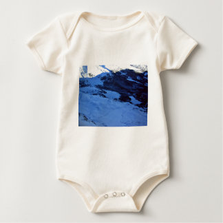 Snowy mountain on a sunny day baby bodysuit