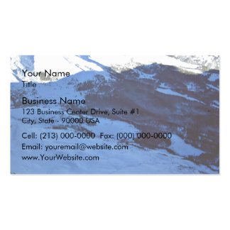 Snowy mountain on a sunny day business card template