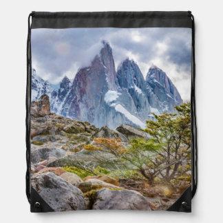 Snowy Mountains at Laguna Torre El Chalten Argenti Drawstring Bag