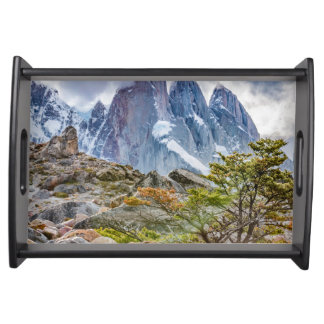 Snowy Mountains at Laguna Torre El Chalten Argenti Serving Tray