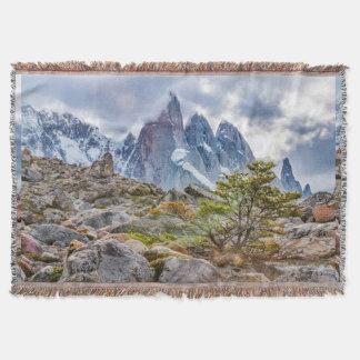 Snowy Mountains at Laguna Torre El Chalten Argenti Throw Blanket