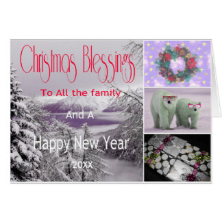 Snowy Mountains Christmas Blessing Card