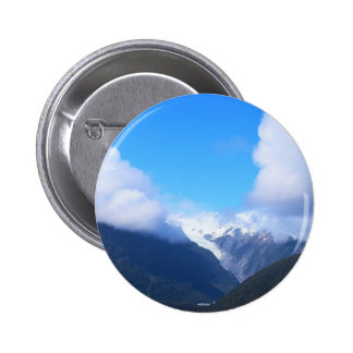 Snowy Mountains, New Zealand Glacier, Aerial View 6 Cm Round Badge