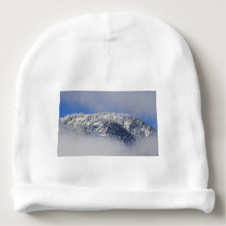 Snowy Mountaintop Trees Baby Beanie