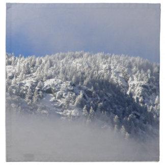 Snowy Mountaintop Trees Napkin