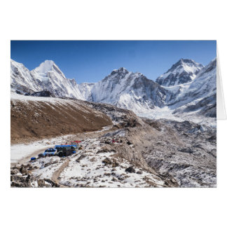 Snowy Mt Everest & Tea House, Himalayan Mountains Greeting Card