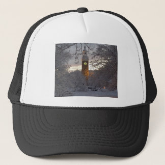Snowy New England Clock Tower Trucker Hat