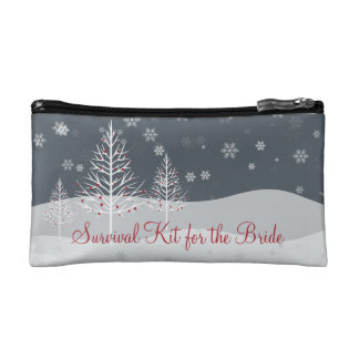 Snowy Night and Winter Trees Bridal Survival Kit Cosmetic Bag
