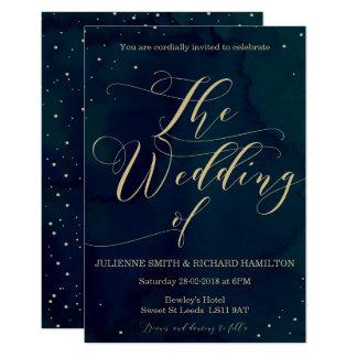 Snowy Night Elegant Winter Wedding Invitation