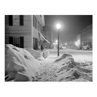 Snowy Night in Vermont, 1940 Postcard