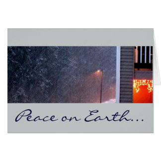 Snowy night peace on earth Christmas Greeting Card
