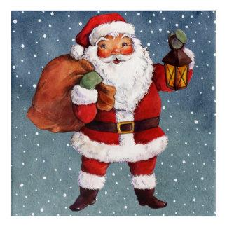 Snowy Night Watercolor Santa Acrylic Print